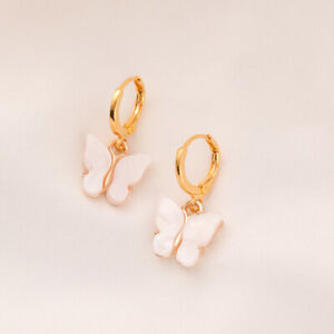 Fashion Womens Cute Butterfly White Crystal 18K Gold Drop Earring Jewelry Gifts