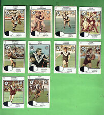 #D404. 1975 WESTERN SUBURBS  MAGPIES  RUGBY LEAGUE CARDS - ALL 10 CARDS