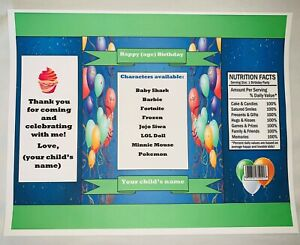 20 DIY Customized 1 0z Party Favor Chip Bags (You Pick & Choose) Character/Theme