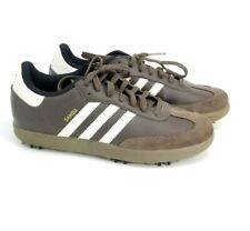 Adidas Mens Samba Brown Leather Golf Shoes Size 7 With Removable Spikes