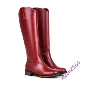 Women Wedge Heels Knee High Boots Leather Zipper England Solid Fall Grace Casual