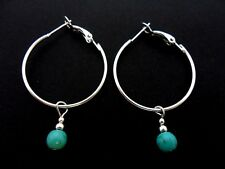 A PAIR OF SILVER PLATED  30MM HOOP & TURQUOISE  BEAD  EARRINGS. NEW.