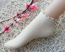 Ladies Cute and Unique 50's Retro Cotton Rib Ankle/Trainer Lace Trim Socks