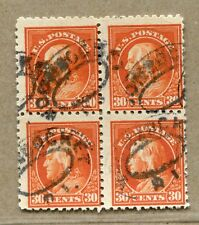 (1914-15) #439 30¢ Franklin used block of 4 stamps