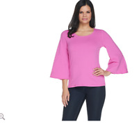 Women with Control 3/4 Bell Sleeve T-Shirt Color Fresh Orchid Size X-Large