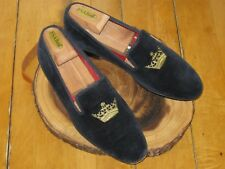 Church's Sovereign Crown Velvet Navy Slippers Shoes Made In England 8.5 M