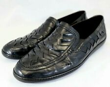 Bragano Black Woven Leather Loafer Men's Size 13 M C04885