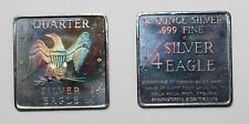 1x 1969 Quarter Silver Eagle 1/4 oz Silver .999 Walla Walla WA Toned Art Bar Sq