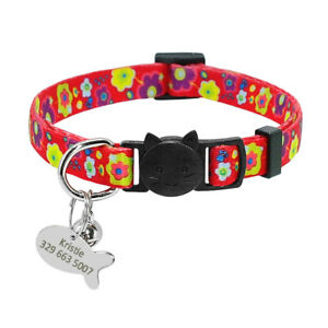 Breakaway Soft Personalized Kitten Cat Collar with ID Nameplate Free Engrave