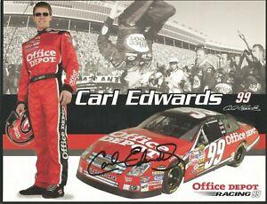 Carl Edwards Autographed 8 1/2x11 Postcard  L@@K