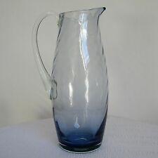GRANDE CRUCHE CRISTAL VILLEROY & BOCH BLEUE signée VINTAGE LARGE JUG BLUE GLASS