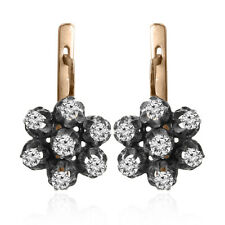 14k Two-Tone Gold Genuine Diamond Russian Antique Gold Finished Style Earrings