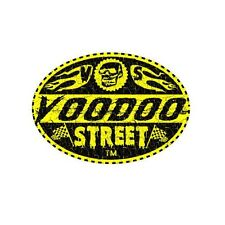 RACE STICKER SKULL AND FLAMES 95mm oval OLD SCHOOL VINTAGE VOODOO STREET, custom