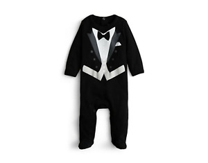 NEW WITH TAG Sara Kety Infant Boy's Black Tie Footie