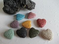 10 Lava Herz Perlen 22 mm Lavaperle für Charm Basteln Farbauswahl DIY