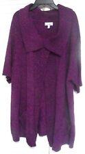 "Women's Plus Size 1X, Open Drape Knit Cardigan by ""Fashion Bug."" Plum"
