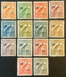 New Guinea. Birds Air Mail Stamp Set. SG163/76. 1931. Lightly Mounted. #HV103