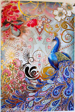 """12 Punch Studio PAISLEY PEACOCK NOTE CARDS.   6"""" X 4"""".  GORGEOUS!"""