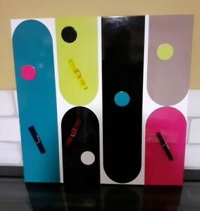 Metal coloured magnetic notice board memos pegs notes kitchen office messages