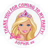 48 Personalised BARBIE inspired Party Bag Stickers Sweet Bag Seals 40mm Labels
