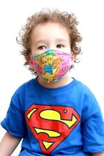 Kids Children's 3 yrs - 7 yrs Map Print Fitted Face Mask Bandana Face Covering