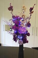 Unique design Purple & Cream Rose Bouquet in FREE vase (20 LED battery lights)
