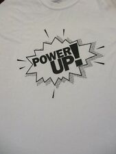 XL white POWER UP SUPER HERO GAMING t-shirt by GILDAN