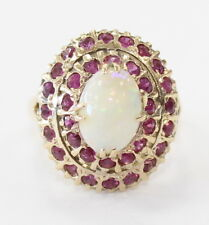 14k Yellow Gold Opal and Ruby Ladies Cocktail Ring ~ 5.7g