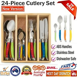 Laguiole Chateau Cutlery Set 24pc Stainless Steel Knife Spoon Fork & Organiser