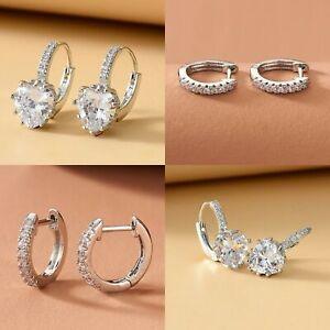 cubic zirconia silver crystal small hoop heart drop stud party gift earrings