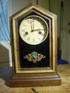 "ANTIQUE VERY RARE EARLY INGRAHAM 1880 ""PONY"" MINIATURE ROSEWOOD SHELF CLOCK 1DAY"