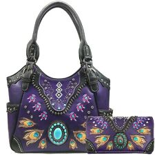 Women's Western Turquoise Feather Concealed Carry Tote Handbag Purse Wallet Set
