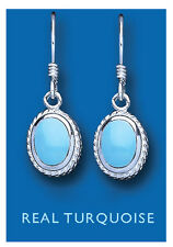 Turquoise Drop Earrings Solid Sterling Silver Drops