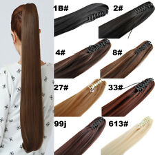 24'' 150g Straight Synthetic Hair Pony Tail Claw Clip in Hair Extension Ponytail