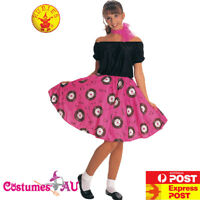 Ladies 50s Grease Poodle Costume Rock n Roll 1950s Retro Rockabilly Fancy Dress