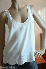 Joie Boyd Off White Silk Lace Top Medium