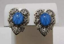 Star Sapphire Cab Clip Earrings Mint Vtg Silver Tone Filigree Leaf Glass Faux