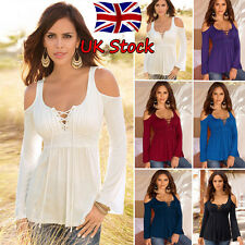 Plus Size Womens Off Shoulder Lace Up T-Shirt Pleated Slim Tops Blouse Shirts XL