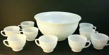 Anchor Hocking Sandwich Milk Glass Punch Bowl 9 cups VTG wedding mid century