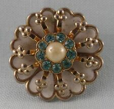 SMALL VINTAGE CORO PIN WITH ENAMEL BLUE RHINESTONES AND FAUX PEARL CENTER