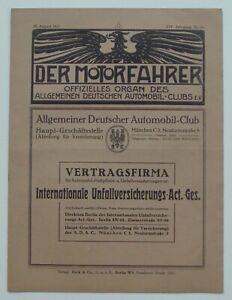 Der Motorfahrer 1917 Nr. 34  * über 100 Jahre / Benz-Werbung / 1. Weltkrieg