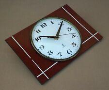 Pendule JAZ TRANSISTOR RECTIC vintage FORMICA faux bois ancien horloge MARCHE