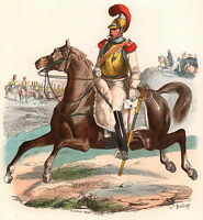 Gravure XIXe Carabinier Cavalerie Napoléon Bonaparte Empire Uniforme 1840