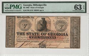 1862 $5 STATE OF GEORGIA MILLEDGEVILLE GEORIGA OBSOLETE NOTE PMG CHOICE 63 EPQ