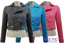 Faux Leather Zip Biker Jackets for Women