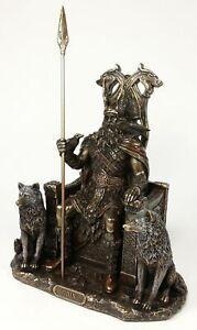 Odin on Throne W Wolves VIKING NORSE MYTHOLOGY GOD Statue Antique Bronze Color