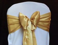 100 Gold Satin Chair Cover Sash Bows sashes Tie Wedding Party Venue Decorations