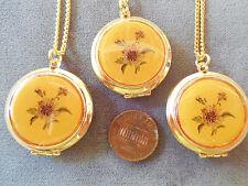 Vintage lot new old stock 3 lge round flower antiqued-look locket necklaces L4