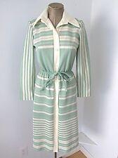 Vtg 70s Mod Sage Green Cream Stripe Polyester Shirt Dress Elastic Tie Belt S/M