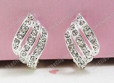U CLIP ON rhinestone CRYSTAL CURVE silver HUGGIE diamante ELEGANT EARRINGS twist